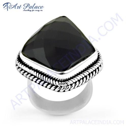 Midnight Black Onyx Gemstone Sterling Silver Ring