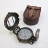 Solid Brass Military Compass Antique With Leather Case 3''
