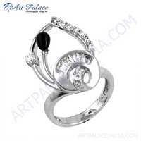 Hot Dazzling Black Onyx & Cubic Zirconia Gemstone Silver Ring