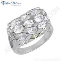 Newest Style 925 Sterling Silver Gemstone Ring With Cubic Zirconia