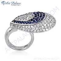 Feminine Unique Design Blue Glass & Cubic Zirconia Silver Ring