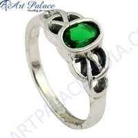 Famous Designer Green Cubic Zirconia Gemstone Silver Ring