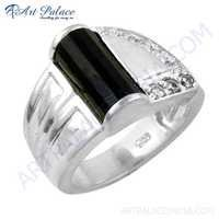 New Arrival 925 Sterling Silver Black Onyx & Cubic Zirconia Gemstone Ring Jewelry