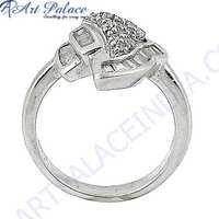 Charm Design Cubic Zirconia Gemstone Silver Ring