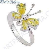 Butterfly Style Yellow Cubic Zirconia Gemstone Silver Ring