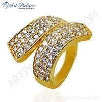 New Antique Cubic Zirconia Gemstone Gold Plated Silver Ring