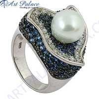 Antique Style Blue Cubic Zirconia & Cubic Zirconia  & Pearl Gemstone Silver Ring