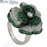 Designer Flower Shape Cubic Zirconia & Green Cubic Zirconia Gemstone Silver Ring