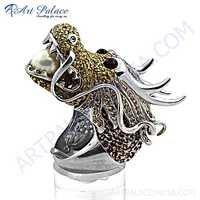 Dragon Shape Cubic Zirconia & Garnet & Pearl & Yellow Cubic Zirconia Gemstone Silver Ring