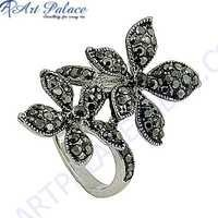 Designer Flower Shape Cubic Zirconia Gemstone Silver Marcasite Jewellery Ring