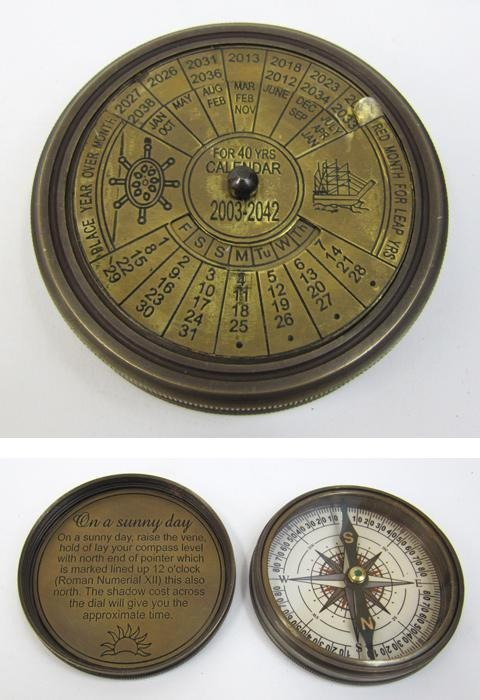 Engraved Brass Calendar Compass, Screw-On Lid size: 3