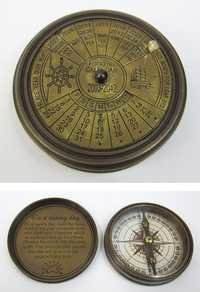 Engraved Brass Calendar Compass, Screw-On Lid size: 3