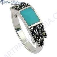 Hot Selling Cubic Zirconia & Inley Silver Ring Marcasite Jewelry