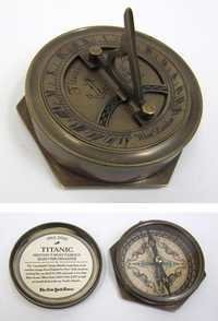 Engraved Brass Titanic Compass With Folding Sundial, Screw-On Lid, Round Base, Decal 3''