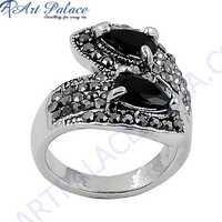 Party Wear 925 Sterling Silver Black Onyx & Gun Metal Gemstone Ring