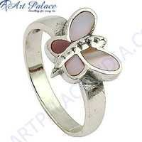 Pretty Butterfly Style Inley Silver Ring