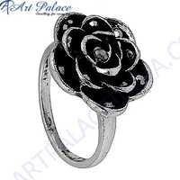 Rose Shape Gun Metal Gemstone Silver Marcasite Jewellery Ring