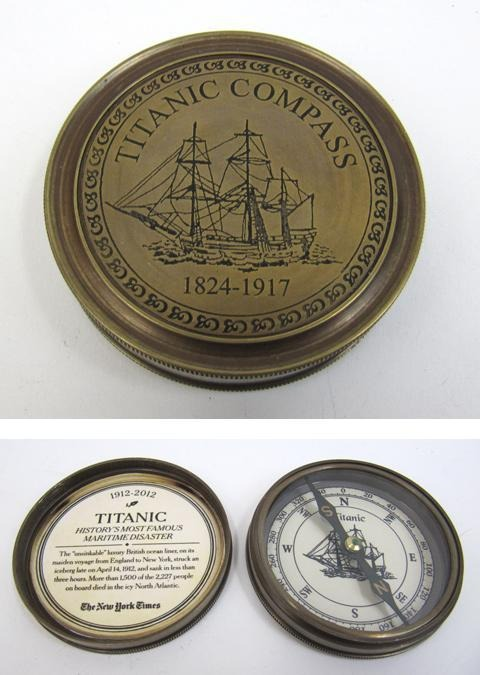 Engraved Brass Titanic Compass, Screw-On Lid 3''