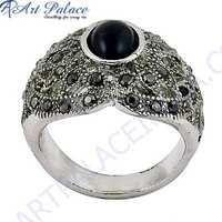 Royal 925 Sterling Silver Black Onyx & Gun Metal Gemstone Ring