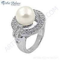 Party Wear 925 Sterling Silver Cubic Zirconia & Pearl Gemstone Ring