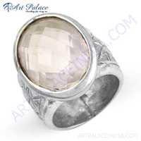 Lovable Rose Quartz Gemstone Streling Silver Ring