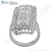 Valuable Cubic Zirconia  Gemstone 925 Sterling Silver Ring
