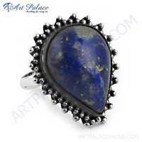 Vintage Designar Lapis Lazuli Gemstone Silver Ring