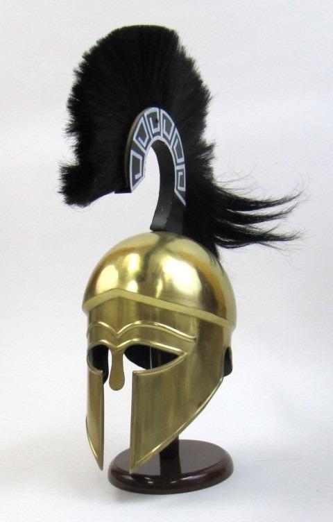 Greek Helmet W/Plume Brass Plated