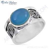 Hot World Blue Chalcedony Gemstone Silver Ring