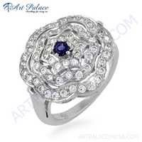 Beautiful Antique Style Cubic Zirconia & Iolite Gemstone Silver Ring