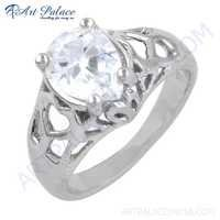Simple Pear Shape Cubic Zirconia Gemstone Silver Ring