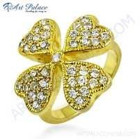 Flower Style In Heart Shape Cubic Zirconia Gemstone Silver Ring