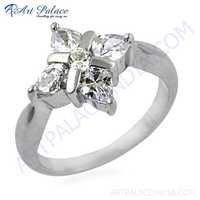 Rocking Style Cubic Zirconia Gemstone Silver Ring
