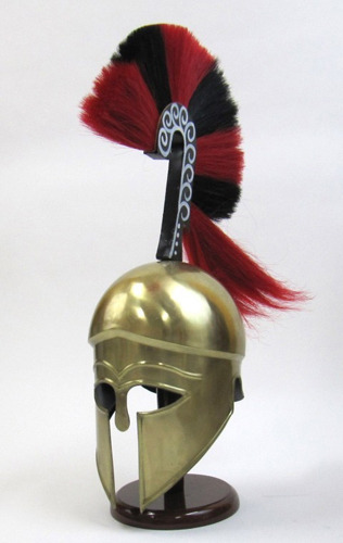 Greek Helmet W/Plume Brass Plated