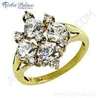 New Heart Shape Cubic Zirconia Gemstone Silver Ring