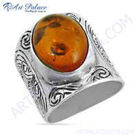 Exclusive Amber Gemstone Sterling Silver Ring