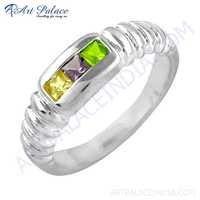 Hot Sale Amethyst & Citrine & Peridot Gemstone Silver Ring