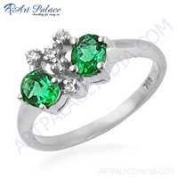 Attractive Cubic Zirconia & Green Cubic Zirconia Gemstone Silver Ring