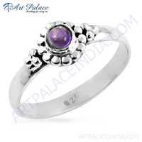 Designer Amethyst Gemstone Silver Ring