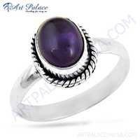 Vintage Designar Gemstone Silver Ring With Amethyst