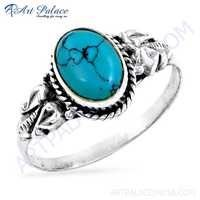 Traditional Designer Turquoise Gemstone Silver Ring