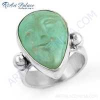 Trendy Turquoise Gemstone Silver Ring Jewelry