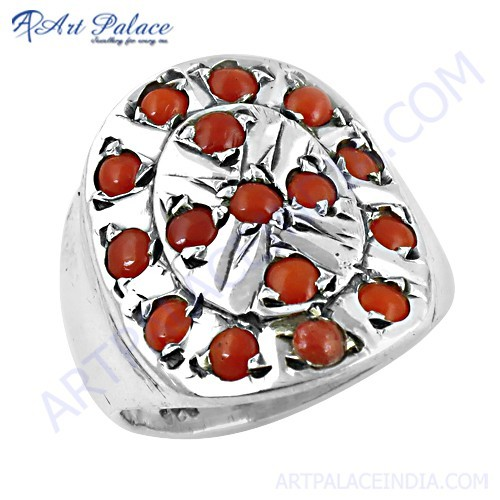 Indian Touch Coral Gemstone Silver Ring Jewelry