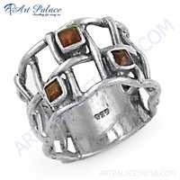 New Orange Cubic Zirconia Gemstone Fret Work Ring