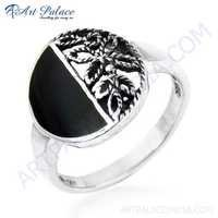 Fashionable Inley Silver Ring Jewelry