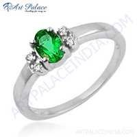Attractive Cubic Zirconia & Green Cubic Zirconia Gemstone Silver Ring