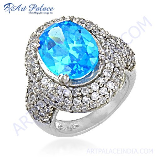 Beautiful Antique Style Cubic Zirconia & Blue Topaz Gemstone Silver Ring