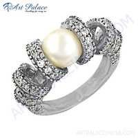 unique Beautiful Cubic Zirconia & Pearl Gemstone Silver Ring