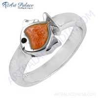 Fashionable Fish Shape Inley Silver Ring