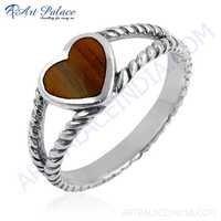 Cute Heart Shape Inley Sterling Silver Ring